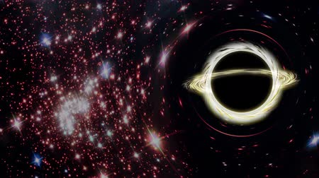 madde : Black hole moving against the background of stars. 3d render.