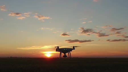 romsvetnik : A drone with camera over a field flies at sunset. The operator moves after him. View from the eyes.