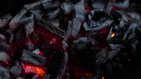 Embers smoldering in the fireplace or grill.