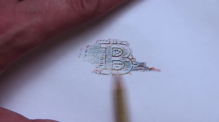 A drawing of a multi-colored bitcoin of a white pencil.