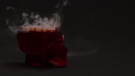 dependência : Red liquid is bubbling in a glass-skull and a thick white smoke rises from it. Mystic footage for Halloween or psychics. Vídeos