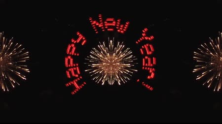 exclamação : New Years footage. The inscription appears and revolves against the background of fireworks.