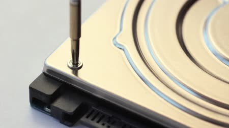silme : Unscrew the screw on the hard drive cover close-up. Stok Video