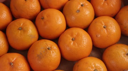 tangerina : The box under the packing sheet of tangerines of poor quality. Close-up. Deception of consumers. The concept of a rotten citrus crop. Full HD video.