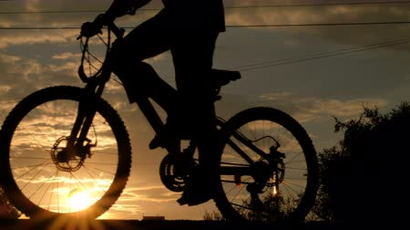 歩道橋 : Silhouette of a man on a bicycle, passing by a carriageway with moving cars. Sports lifestyle. City life at sunset.