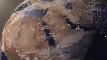 terrestre : Earth animation zooms in on Middle East Stock Footage