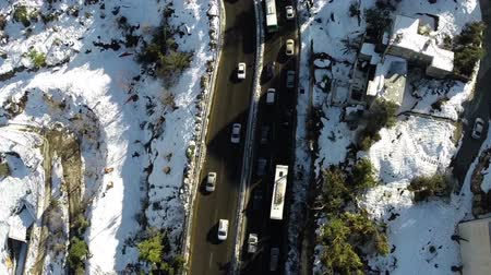 bird's eye view : Jerusalem roads in the snow Stock Footage