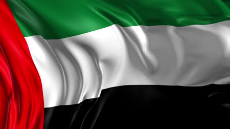 Flag of United Arab Emirates  Beautiful   3d animation of United Arab Emirates flag in loop mode Stok Video