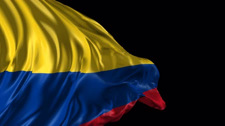 kolombiya : Flag of Colombia Beautiful 3d animation of Colombia flag with alpha channel  Stok Video