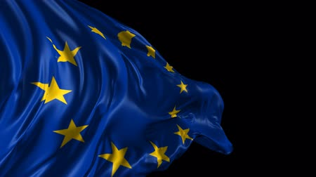 bandeira : Flag of the European Union  Beautiful 3d animation of the European flag with alpha channel