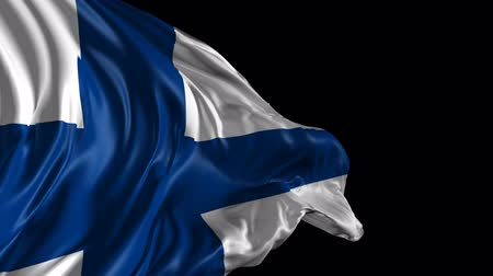 finlandês : Flag of Finland Beautiful   3d animation of Finland with alpha channel Stock Footage