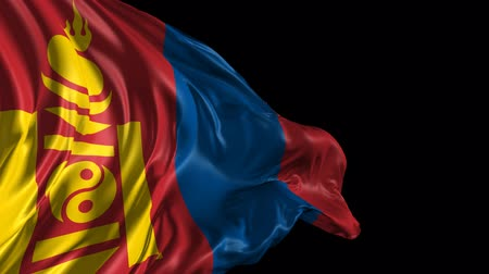 moğolistan : Flag of Mongolia Beautiful 3d animation of the Mongolia flag with alpha channel