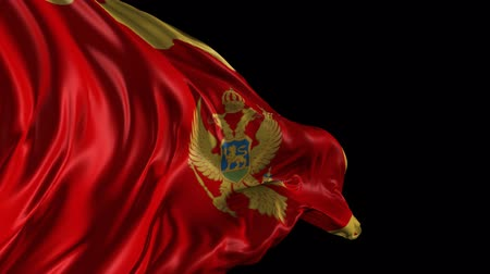 Черногория : Flag of Montenegro Beautiful 3d animation of the Montenegro flag with alpha channel