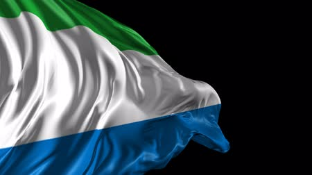 sierra leone flag : Flag of Sierra Leone Beautiful 3d animation of Sierra Leone flag with alpha channel