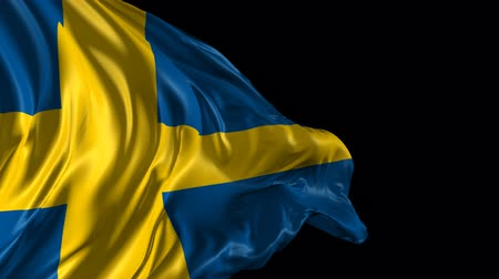 Швеция : Flag of Sweden Beautiful 3d animation of Sweden flag with alpha channel