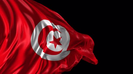 tunus : Flag of Tunisia  Beautiful   3d animation of Tunisia flag with alpha channel