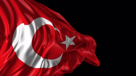 turecko : Flag of Turkey Beautiful   3d animation of Turkey flag with alpha channel