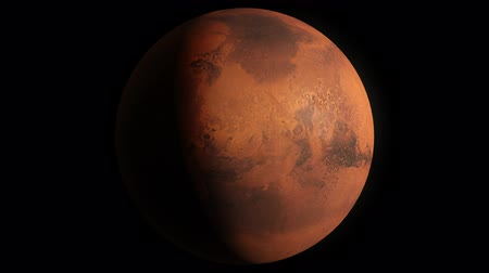 yörünge : Planet Mars Beautiful 3d animation of Mars planet rotates with alpha channel in loop mode Stok Video