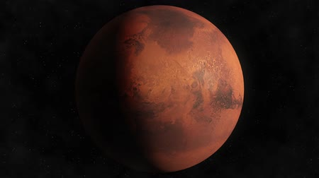 Марс : Planet Mars Beautiful 3d animation of Mars planet rotates with stars and sun in the background in loop mode Стоковые видеозаписи