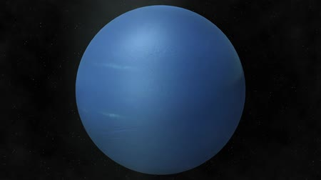 yörünge : Planet Neptune Beautiful 3d animation of The Planet Neptune rotates with stars and sun in the background in loop mode Stok Video