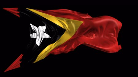 east timor : Flag of East Timor Beautiful   3d animation of East Timor flag with alpha channel in 4k resolution