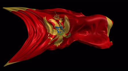 Черногория : Flag of Montenegro Beautiful 3d animation of the Montenegro flag with alpha channel in 4k resolution Стоковые видеозаписи