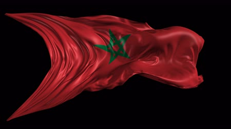 marrocos : Flag of Morocco Beautiful 3d animation of the Morocco flag with alpha channel in 4k resolution