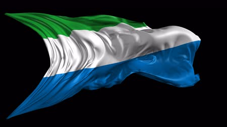 sierra leone flag : Flag of Sierra Leone Beautiful 3d animation of Sierra Leone flag with alpha channel in 4k resolution Stock Footage