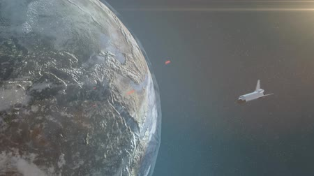 mekik : Space Shuttle  Beautiful 3d animation of space shuttle orbiting earth with sun and stars
