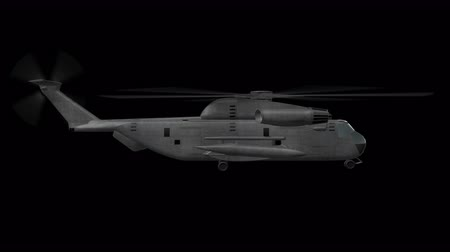 copter : Ch-53 Helicopter Hovering 3D animation of Military Helicopter Hovering with alpha channel and 4K resolution  in loop mode Stock Footage