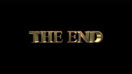 título : The end title-3d gold metallic animation flying away from the camera for ending movies with alpha channel in 4k resolution