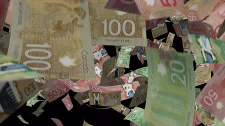 стек : Falling Canadian dollar animation Video Effect simulates Falling Mixed Canadian dollar banknotes with alpha channel in 4k resolution