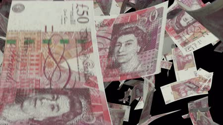 esterlino : Falling pound sterling money animation Video Effect simulates Falling 50 pound sterling banknotes money with alpha channel in 4k resolution Stock Footage