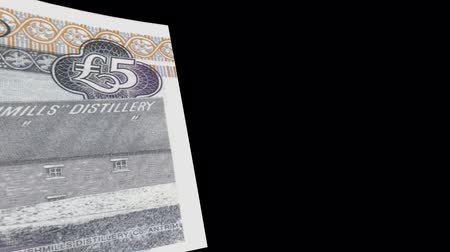 stiff : Ireland banknote Wiper Video Effect simulates Ireland Money banknote Transition from left to right with alpha channel Stock Footage