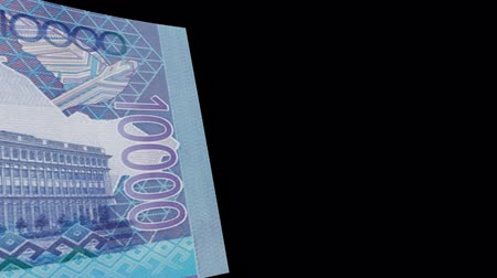 Kazakhstan banknote Wiper Video Effect simulates Kazakhstan Money banknote Transition from left to right with alpha channel Stok Video