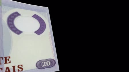 Mozambique banknote Wiper Video Effect simulates Mozambique Money banknote Transition from left to right with alpha channel Stock Footage