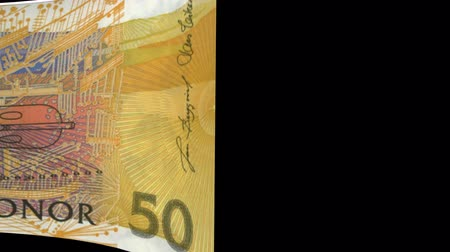lots of money : Sweden banknote Wiper Video Effect simulates Sweden Money banknote Transition from left to right with alpha channel Stock Footage
