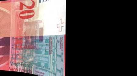 stiff : Switzerland banknote Wiper Video Effect simulates Switzerland Money banknote Transition from left to right with alpha channel Stock Footage