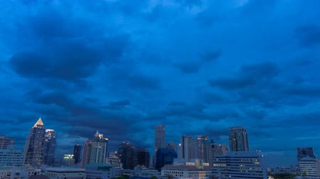 Time Lapse of Bangkok Skyline City View on Sathon Road at Night