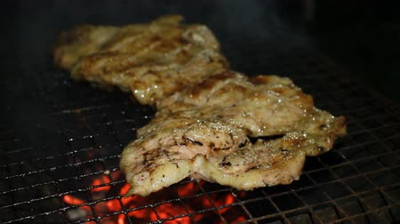 Filete de cerdo en la parrilla de la barbacoa Archivo de Video