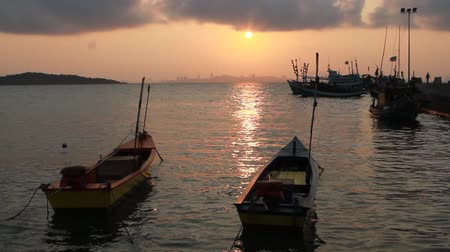 Fishing boats on the sea in sunrise, Thailand