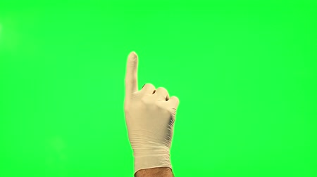 clique : 18 Touchscreen gestures - male hand with surgical gloves