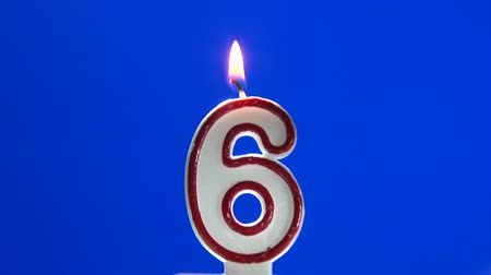 seis : Number 6 - six birthday candle burning - blow out at the end Vídeos