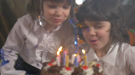 o : Young beautiful twin sisters blowing candles on a birthday cake, slow motion
