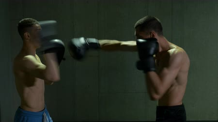 bojování : Two male kickboxing fighters training in boxing studio with concentration and determination