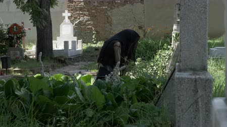 grieved : Crying woman in black mourning dress at the grave of beloved feeling desolation and sorrow