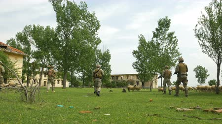 operacional : Group of army soldiers patrolling in abandoned housing area protecting and serving duty