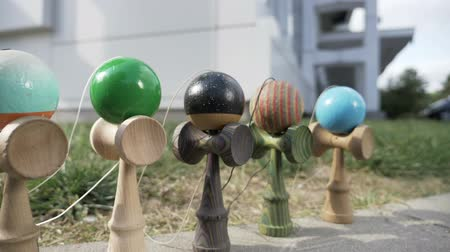 sběratelskou : Outdoor presentation of several kendama toy the most popular toys for children and young adults