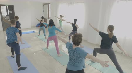 harcos : Yoga class made of corporate middle aged women exercising warrior pose in a fitness studio as a teambuilding Stock mozgókép