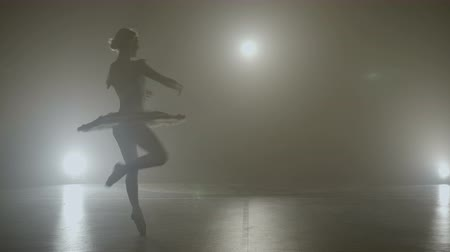 Young teenager ballerina wearing pointe shoes making pirouettes while getting ready for the show on a foggy stage